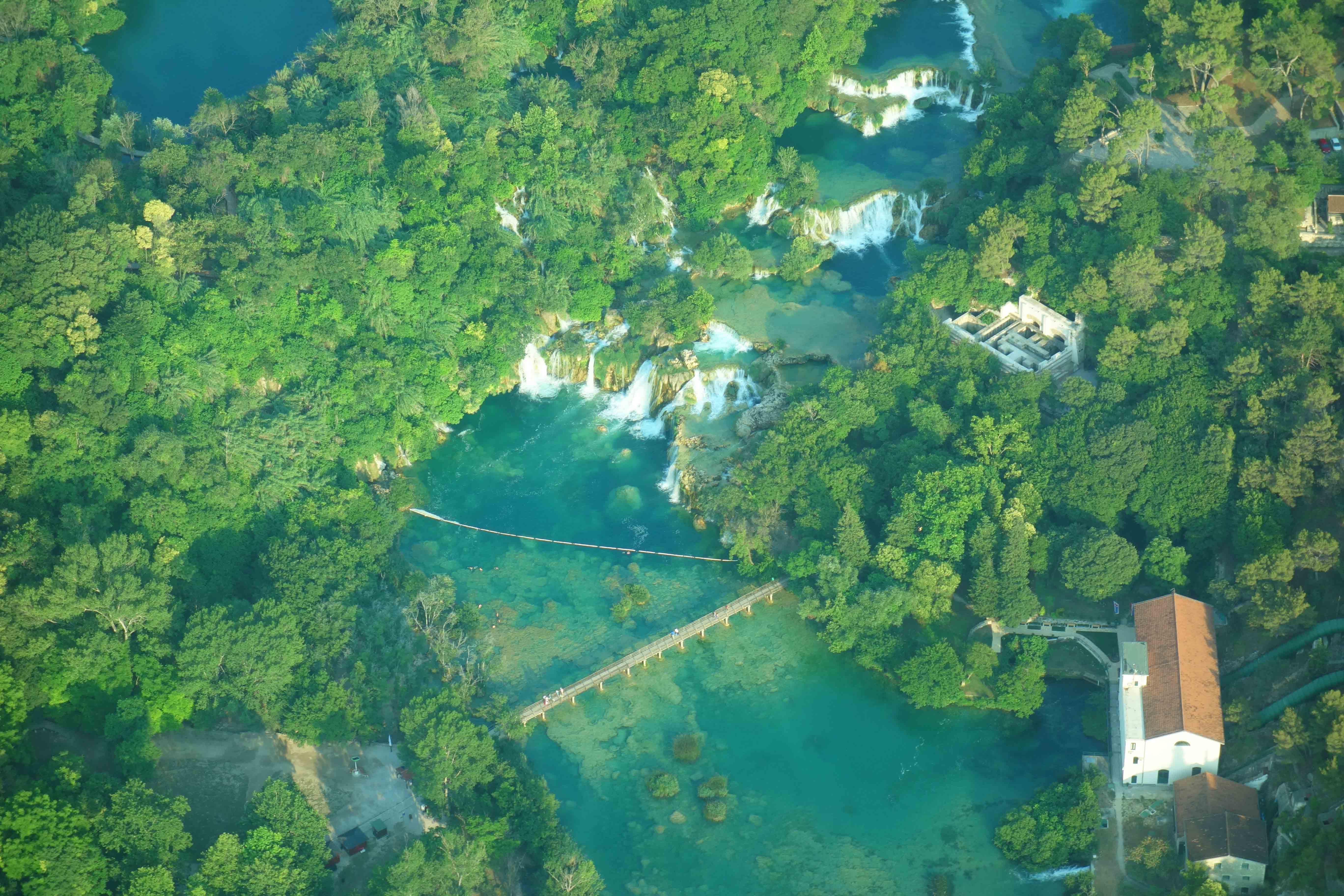 Krka Wasserfälle Panoramaflug